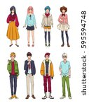 set of cute anime characters.... | Shutterstock .eps vector #595594748