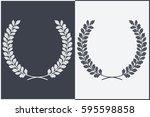 oak wreath vector silhouette.... | Shutterstock .eps vector #595598858
