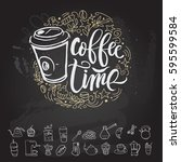 coffee time poster and icon... | Shutterstock .eps vector #595599584