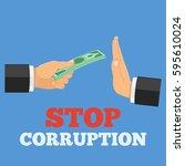 stop corruption concept  hand... | Shutterstock .eps vector #595610024