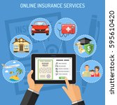 concepts online insurance... | Shutterstock .eps vector #595610420