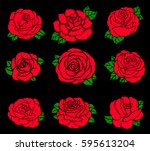 flowers roses  red buds and... | Shutterstock .eps vector #595613204