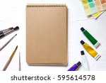 notebook mock up for artwork...   Shutterstock . vector #595614578