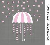 rain of hearts with umbrella.... | Shutterstock .eps vector #595614608