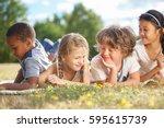 group of children in nature... | Shutterstock . vector #595615739