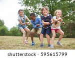 interracial group of kids... | Shutterstock . vector #595615799