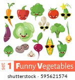 vector set of cute funny food... | Shutterstock .eps vector #595621574