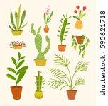 vector set of different indoor... | Shutterstock .eps vector #595621718