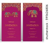 indian invitation card... | Shutterstock .eps vector #595626806