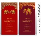 indian invitation card... | Shutterstock .eps vector #595626866