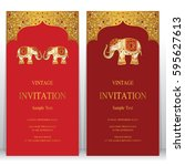 indian invitation card... | Shutterstock .eps vector #595627613