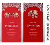 indian invitation card... | Shutterstock .eps vector #595627646