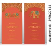 indian invitation card... | Shutterstock .eps vector #595627658