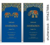 indian invitation card... | Shutterstock .eps vector #595627886