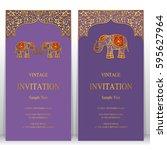indian invitation card... | Shutterstock .eps vector #595627964