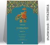 indian invitation card... | Shutterstock .eps vector #595628816