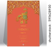 indian invitation card... | Shutterstock .eps vector #595628930