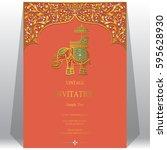indian invitation card... | Shutterstock .eps vector #595628930