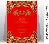 indian invitation card... | Shutterstock .eps vector #595628948