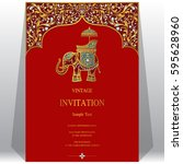 indian invitation card... | Shutterstock .eps vector #595628960