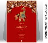 indian invitation card... | Shutterstock .eps vector #595628960