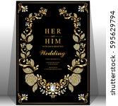wedding invitation card... | Shutterstock .eps vector #595629794