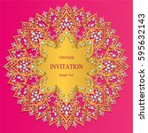 invitation card templates with... | Shutterstock .eps vector #595632143