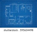 apartment blueprint | Shutterstock . vector #595634498