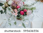 festive stands in the wedding... | Shutterstock . vector #595636556