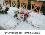 festive stands in the wedding... | Shutterstock . vector #595636589