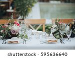 festive stands in the wedding... | Shutterstock . vector #595636640