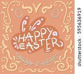 vintage happy easter lettering... | Shutterstock .eps vector #595636919