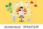 web social network concept for... | Shutterstock .eps vector #595637639
