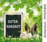 german text frohe ostern and... | Shutterstock .eps vector #595641800