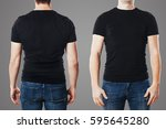 young man with blank t shirt... | Shutterstock . vector #595645280