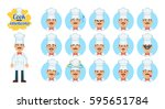 set of cook emoticons. chef... | Shutterstock .eps vector #595651784