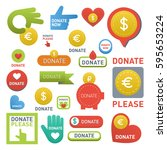 donate buttons vector set... | Shutterstock .eps vector #595653224