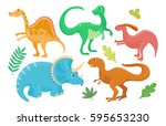 cartoon dinosaurs vector... | Shutterstock .eps vector #595653230