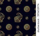 gold elephant seamless pattern. | Shutterstock .eps vector #595653974