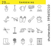 gardening line icons vector set. | Shutterstock .eps vector #595655210