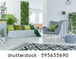 bright living room with sofa ... | Shutterstock . vector #595655690