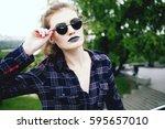 summer fashion portrait of... | Shutterstock . vector #595657010