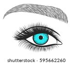 hand drawn bright eyes with... | Shutterstock .eps vector #595662260