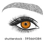 hand drawn bright eyes with... | Shutterstock .eps vector #595664384