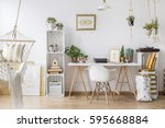 white furniture and wooden... | Shutterstock . vector #595668884
