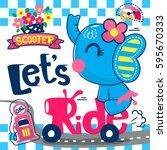 Cute Cartoon Elephant Girl On...