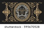 retro design with floral... | Shutterstock .eps vector #595670528