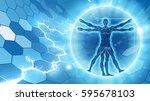 Vitruvian Man Hexagon Blue...