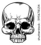 skull in a vintage retro hand... | Shutterstock . vector #595678154