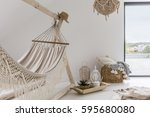 room interior with hammock and... | Shutterstock . vector #595680080